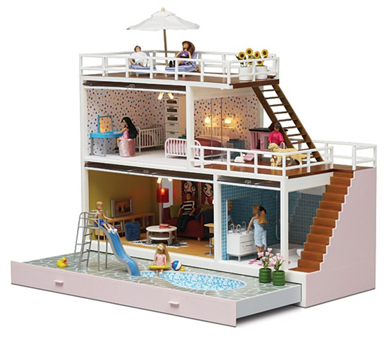 Contemporary dolls house the lundby stockholm mirror mirror for Barbie doll house with swimming pool