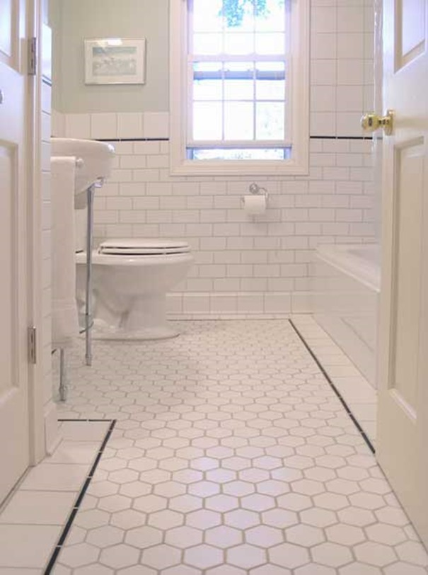 Hexagon tiles for Bathroom tile flooring designs